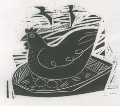 Chicken - wood engraving - Jonathan Gibbs