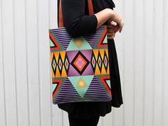 Leder Tote / LaptopTasche  Tribal geometrische Nr. 2 von tovicorrie, $195.00