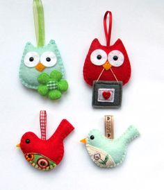 felt birds - ideas for a great hanging - people are so very clever!