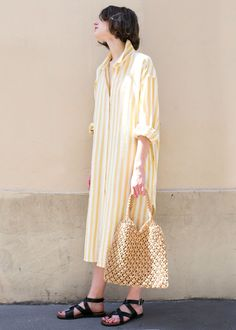 Marigold Striped Cotton Shirt Dress – The Frankie Shop Cotton Shirt Dress, Striped Shirt Dress, Outing Outfit, Button Front Dress, Dress First, Dress Codes, Summer Looks, What To Wear, Fashion Dresses