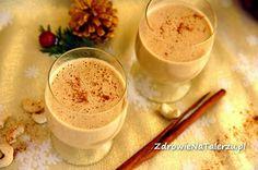 Zielone koktajle: eggnog = mleko roślinne + nerkowce + mandarynka + daktyle + syrop klonowy + wanilia + kardamon + cynamon + sól