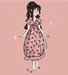 Love this cute artwork by Linnaine Make sure to check out their Instagram page! Strawberry Dress, Check, Artwork, Cute, Anime, How To Make, Instagram, Work Of Art, Auguste Rodin Artwork