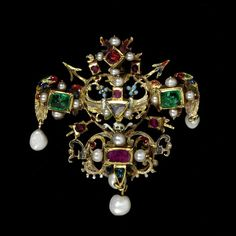 Brooch, Germany, ca 1575-1600, enameled gold set with rubies, emeralds, table cut diamonds and pearls