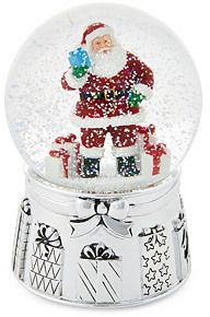 "6"" Classic Santa Snow Globe, Silver 