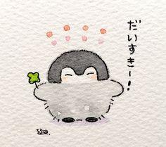 Ink Painting, Watercolor Art, Cute Drawings, Kawaii Drawings, Penguin Cartoon, Anime Character Drawing, Cute Penguins, Kawaii Art, Animes Wallpapers