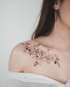 48 beautiful tattoos for women over 40 - cherry blossoms by Tritoan Ly -. - 48 beautiful tattoos for women over 40 – cherry blossoms by Tritoan Ly – - Bone Tattoos, Body Art Tattoos, Sleeve Tattoos, Tatoos, Guy Arm Tattoos, Female Wrist Tattoos, Small Tattoos, Collarbone Tattoo, Chest Tattoo