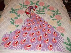 Vintage Peacock Chenille Bedspread | eBay