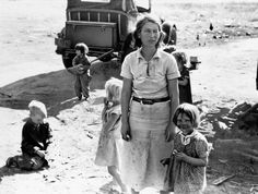 Family from Oklahoma fleeing the Dust Bowl, near Fresno, California, USA, May 18, 1937