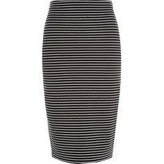 River Island Black stripe pull on pencil skirt
