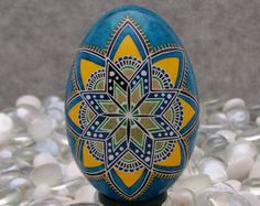 blue and yellow pysanka