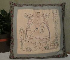 Hand Embroidered Garden pillow from Stitching Time Boutique.https://www.etsy.com/shop/StitchingTimeBoutiqu?ref=hdr_shop_menu