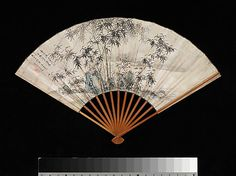 Bamboo and Rocks by a Stream  Takaku Aigai (Japanese, 1796–1843)  Period: Edo period (1615–1868) Date: 1832 Culture: Japan Medium: Folding fan; ink on paper Dimensions: Overall: 11 5/16 x 18 in. (28.7 x 45.7 cm)