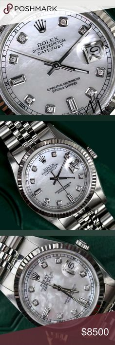 Rolex Beautiful 36mm MOP 100% authentic Rolex watch. Unisex. Stunning Mother of pearl with genuine diamonds. Amazing watch. This is my latest purchase. In prestine mint condition.comes with appraisal.  No trades and please my friends. No lowballers. Thanks for visiting and please see my closet for more authentic beautiful items. Rolex Accessories Watches