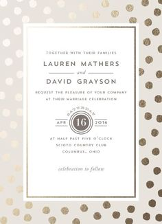 #Marriage #Invitation #Goldfoliendruck #Dots