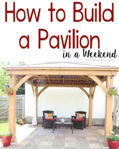 Budget Patio, Small Patio Ideas On A Budget, Patio Diy, Backyard Pavilion, Backyard Gazebo, Backyard Pergola, Pergola Plans, Pergola Ideas, Patio Roof