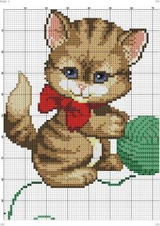 Ponto cruz: Gráficos de Gatos em Ponto Cruz.