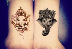 2 Tribal Elephant Temporary Tattoo in Black & White and Watercolor Pink *** Listing is for 2 sheet of high quality tattoo which lasts about 2 days up to a week*** *** You will receive 1 Black & White
