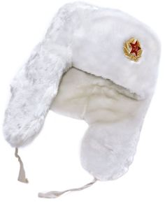 Authentic Russian Winter Hat Ushanka White-58, with Russi...