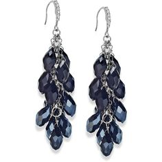 c.a.k.e. by Ali Khan Silver-Tone Multi-Bead Drop Earrings ($65) ❤ liked on Polyvore featuring jewelry, earrings, jet, tear drop earrings, teardrop earrings, silver tone earrings, sparkle jewelry and beaded drop earrings