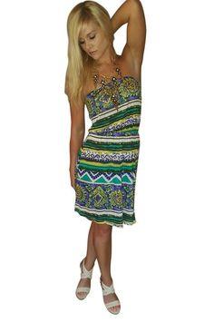 100% Rayon! Green, Strapless Tribal Print Dress from TEA n ROSE!