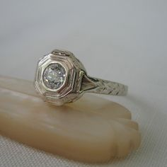 Beautiful Diamond Engagement Ring. Antique Old Mine Cut Diamond.
