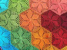 Rainbow Hexagonal Crochet Blanket