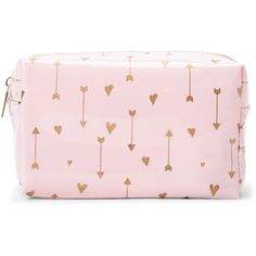 Cul De Sac Pink Hearts & Arrows Cosmetic Case found on Polyvore featuring beauty products, beauty accessories, bags & cases, white, cosmetic bag, toiletry bag, make up purse, travel toiletry case and make up bag