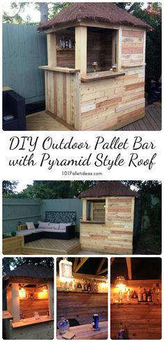 DIY Outdoor Pallet Bar with Pyramid Style Roof | 101 Pallet Ideas