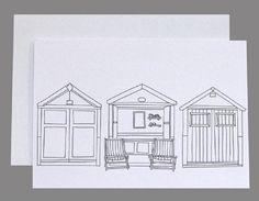 Three Beach Hut Card