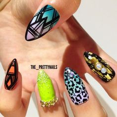 """Amalgamation ⭐️ Colours used: Topshop Nails """"Parma Violet"""" (lilac), Maybelline Color Show """"Green With Envy"""" (mint ..."""