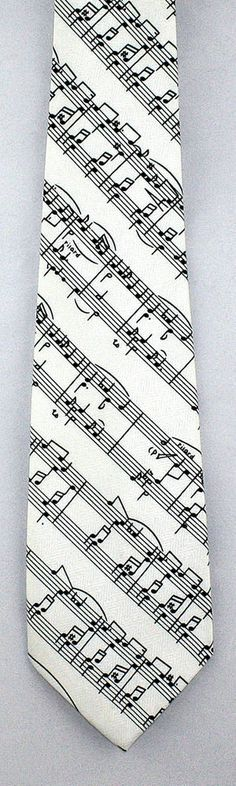 New Musical Score Mens Necktie Musical Notes Novelty Sheet Music White Neck Tie #Parquet #NeckTie