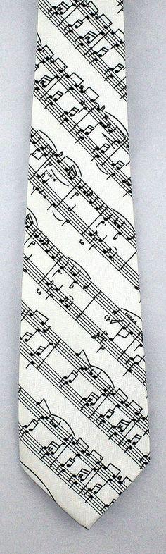 New Musical Score Mens Necktie Musical Notes Novelty Sheet Music White Neck Tie #Parquet #NeckTie