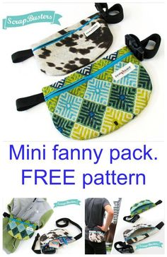 Make this mini modern version of the fanny pack all slimmed down, for a sleek look and feel. Bag Patterns To Sew, Sewing Patterns Free, Free Pattern, Bag Sewing, Love Sewing, Sewing Projects For Beginners, Sewing Tutorials, Sewing Tips, Sewing Hacks