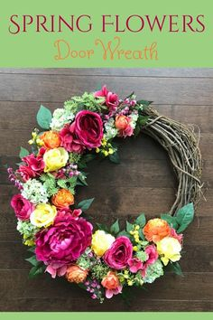 Welcome Spring, Welcome Friends: Spring Door Wreath. Bright Colors are what we all crave about spring time. These beautiful pinks yellow and greens pop on any door and will put a smile on your face and add sunshine to your days like a refreshing glass of lemonade! Spring Wreaths for Front Door, Mothers Day Gift Ideas, Spring Wreath, Gift For Mom From Daughter, Spring Door Decor, Spring Wall Decor #affiliate #wreath #springdecor #mothersdaygift