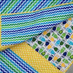 Modern Handmade Baby Infant Toddler Newborn Quilt Owls Chevron Blue Green Yellow ready to ship on Etsy, $95.00