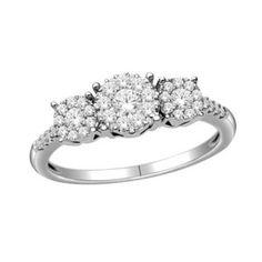 1/2 CT. T.W. Diamond Three Stone Composite Ring in 14K White Gold