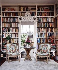 Loving the old world style of this library.  I may not use those same elaborate chairs, but the doorway is whimsical and beautiful