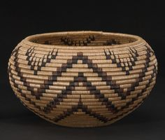 A Washo polychrome basket  Finely woven in a precise pattern of concentric zigzag banding below barbed V-forms.  height 5in, diameter 8 3/4in