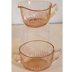 Vintage 1930s Pink Depression Glass Creamer Sugar Bowl Set Old Colony