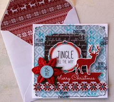 Kaisercraft North Pole - Jingle All the Way Christmas Card Merry Christmas Card, Holiday Cards, Xmas, Collectible Cards, Jingle All The Way, North Pole, Card Tags, Candy Cane, December Daily