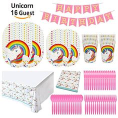 Rainbow Uniorn Birthday Party Supplies Tableware Set - Service 16 Guests Includes Dinner Plates,Dessert Plates,HAPPY BIRTHDAY Banner,Cups,Napkins,Forks Spoons Knives and Table Covers - http://www.partysuppliesanddecorations.com/rainbow-uniorn-birthday-party-supplies-tableware-set-service-16-guests-includes-dinner-platesdessert-plateshappy-birthday-bannercupsnapkinsforks-spoons-knives-and-table-covers.html
