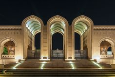 The sultan Qaboos Grand Mosque, Sultanate of Oman Mosque Architecture, Light Architecture, Classical Architecture, Landscape Architecture, Sultan Qaboos Grand Mosque, Salalah, Landscape Lighting Design, Facade Lighting, Arabic Design