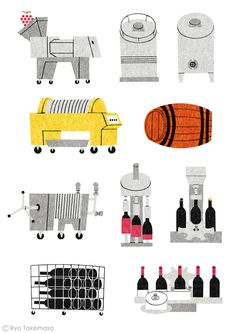IDP出版の雑誌『季刊SORA』2014年秋号の日本ワイン特集でイラストレーションを担当しました。 Illustrations for the feature on Japanese wine in Sora magazine, Autumn 2014 issue.