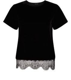 Black Velvet, Lace Trim, New Look, Short Sleeve Dresses, T Shirt, Autumn, Shopping, Clothes, Tops