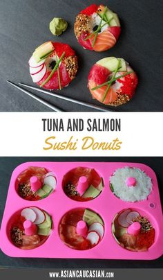 Sushi Donuts These Sushi Donuts are way healthier than the sweet variety! They're made with all of the traditional sushi ingredients, but packed into cute little donut shapes for an irresistible and healthy dinner that's as fun to make as it is to eat! Donut Recipes, Fish Recipes, Seafood Recipes, Asian Recipes, Dinner Recipes, Cake Recipes, Drink Recipes, Cooking Recipes, Sushi Donuts