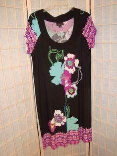 Beautiful Scarlett Sz 16 Black Aqua & Fushia Floral Paisley Liquid Knit Dress #Scarlett #Sheath