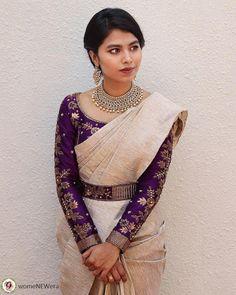 Kerala Saree Blouse Designs, Wedding Saree Blouse Designs, Half Saree Designs, Saree Blouse Neck Designs, Fancy Blouse Designs, Kalamkari Blouse Designs, Saree Wedding, Traditional Blouse Designs, Stylish Blouse Design