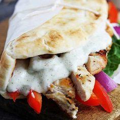 Easy Chicken Gyros & Tzatziki Sauce - I made this into a salad skipping the pita bread, yum! Tzatziki Sauce, Tostadas, Enchiladas, I Love Food, Good Food, Sandwiches, Chicken Gyros, Chicken Wraps, Cooking Recipes