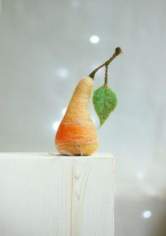 Needle Felted  Pear  Cottage Decoration Pear  by FeltArtByMariana