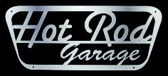 """Laser-Cut Steel Hot Rod Garage Sign Put a retro edge on your wall with this laser-cut Hot Rod Garage sign. Crafted in America from 16-gauge stainless steel, the 24"""" x 12"""" sign has drilled corners for easy display, and a brushed finish. $49.95"""